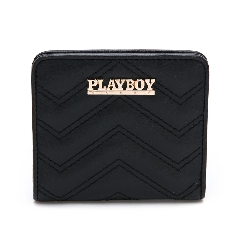 PLAYBOY- 短夾  香榭大道系列-個性黑零錢包附手挽帶