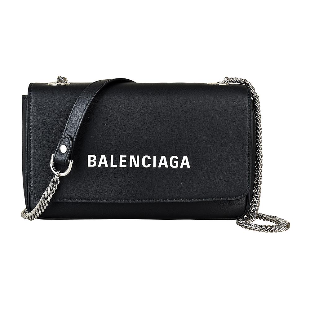 BALENCIAGA巴黎世家經典印花LOGO牛皮鏈帶扣式斜背包(黑)BALENCIAGA