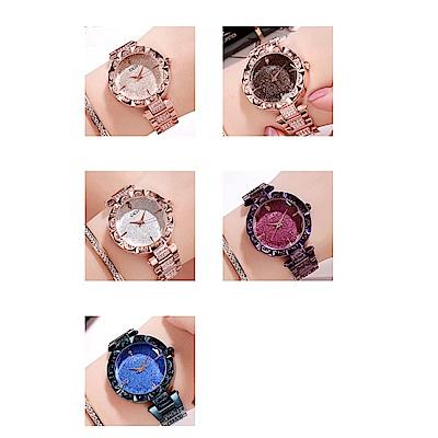 Ela 簡約時尚鑲水鑽鋼帶女腕錶