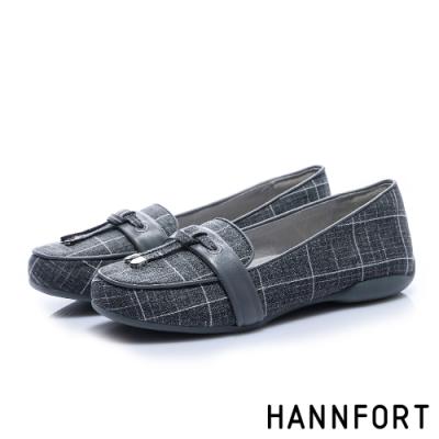 HANNFORT RIPPLE經典格紋氣墊樂福鞋-女-知性灰(8H)