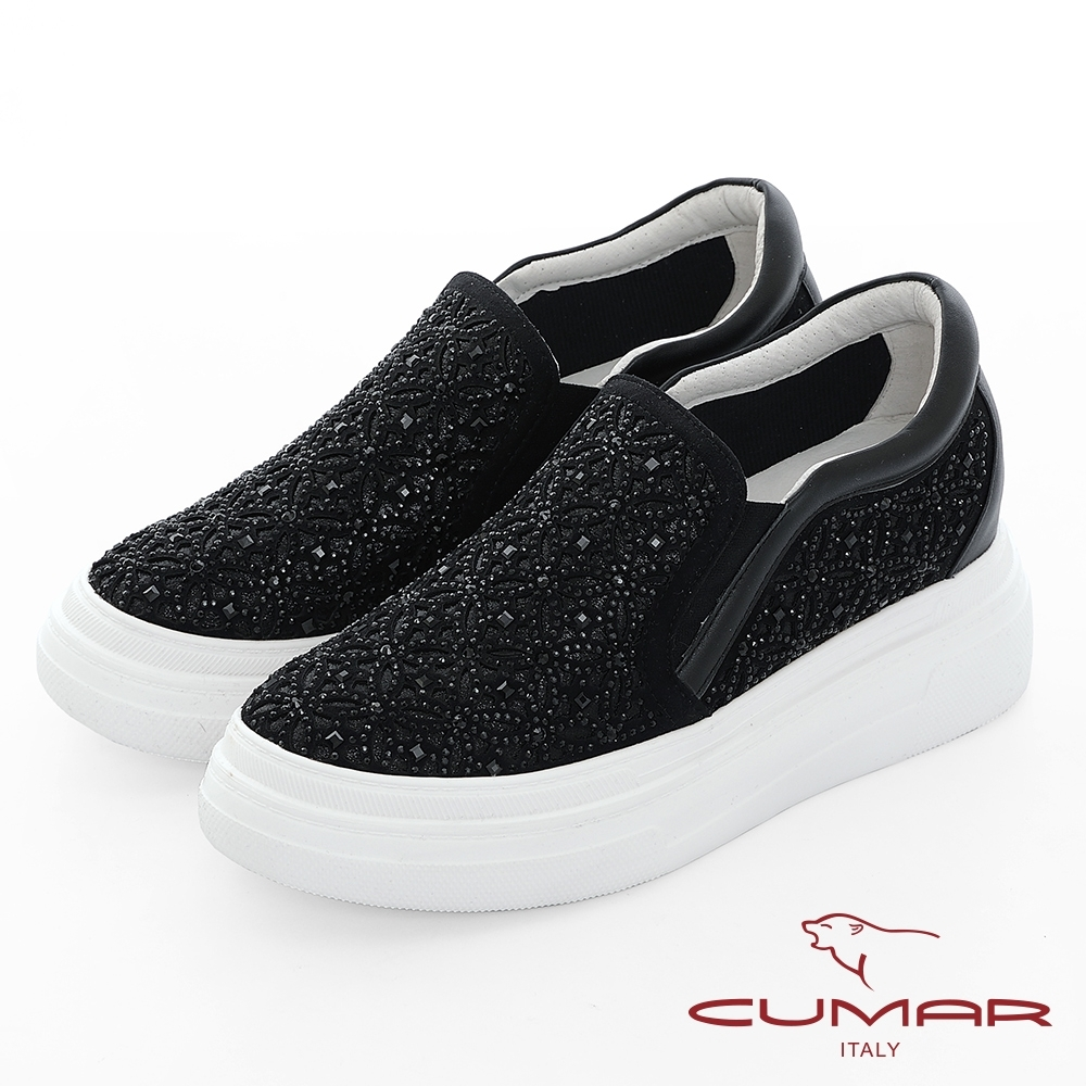 【CUMAR】悠遊輕井澤 - 網眼鏤空雷射花朵鑽飾厚底懶人休閒鞋