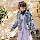 iMODA STAR- 臧芮軒。高含棉前短後長袖牛仔丹寧排釦外套