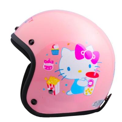 HELLO KITTY 45週年 正版授權 4/3罩安全帽 粉紅款  (女生SIZE)