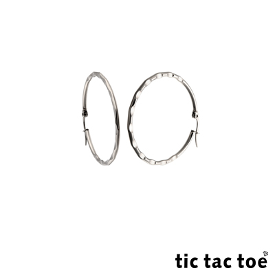 tic tac toe 足跡 白鋼圓形耳扣耳環 4cm 白鋼色