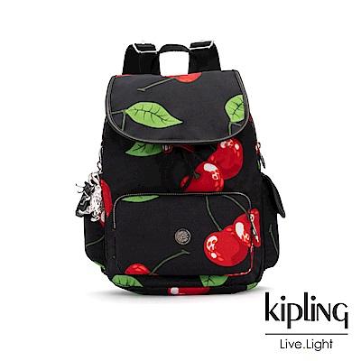 Kipling x HELEN LEE聯名款-艷彩櫻桃圖騰拉鍊掀蓋後背包-CITY PAC