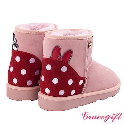 Disney collection by grace gift-拼接造型設計雪靴 粉