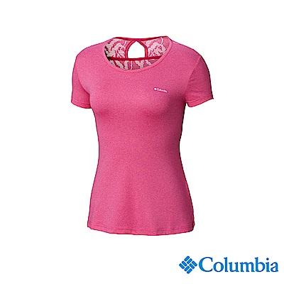 Columbia 哥倫比亞 女款-快排短袖上衣-桃紅 UAK14920FC