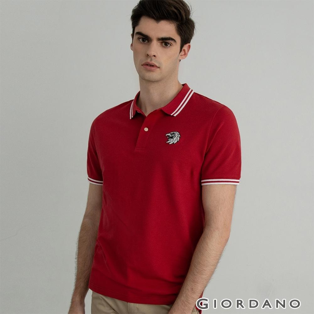 GIORDANO  男裝素色老鷹刺繡POLO衫 - 04 標誌紅