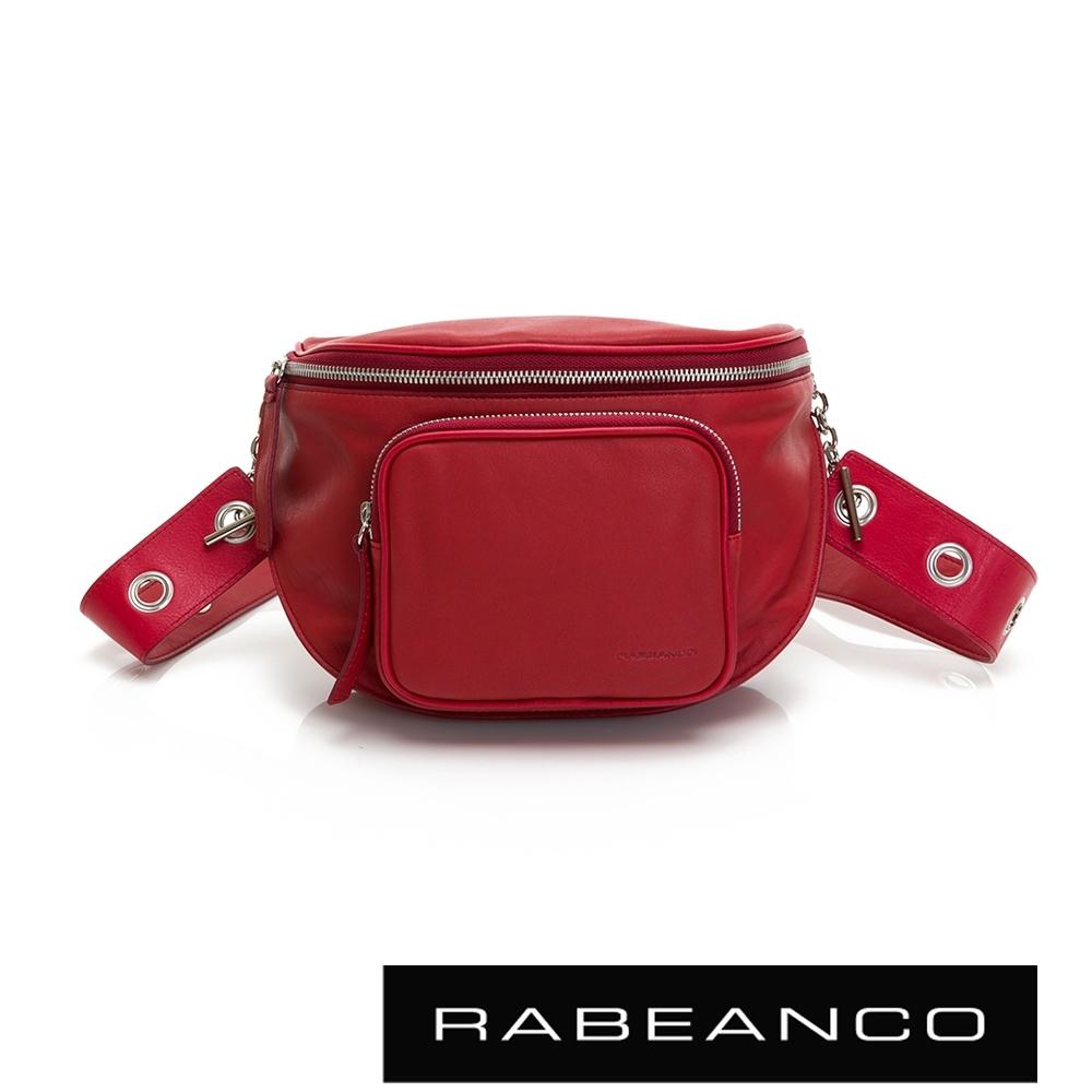 RABEANCO INA牛皮T型鏈條寬背帶斜背/腰包(大) 山渣紅