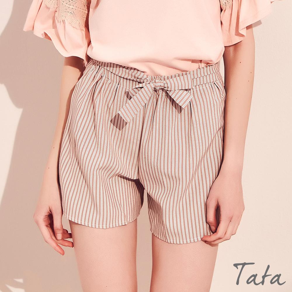 高腰寬褲口綁帶短褲 TATA-(S~XL)