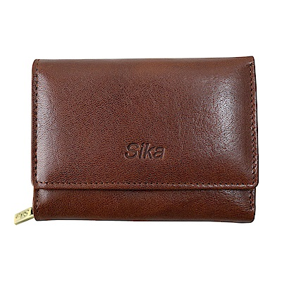 SIKA義大利時尚牛皮壓扣中夾A8249-02深咖啡