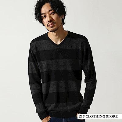 V領針織衫素面條紋(20色) ZIP日本男裝