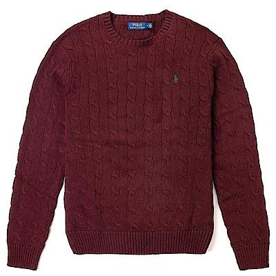 Polo Ralph Lauren 經典刺繡小馬圓領麻花針織毛衣-酒紅色