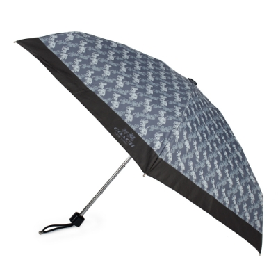 COACH 梅雨必備 經典滿版馬車LOGO圖案折疊晴雨傘-丹寧藍色