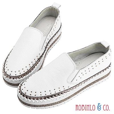 Robinlo & Co.休閒感環繞鉚釘牛皮休閒鞋 白