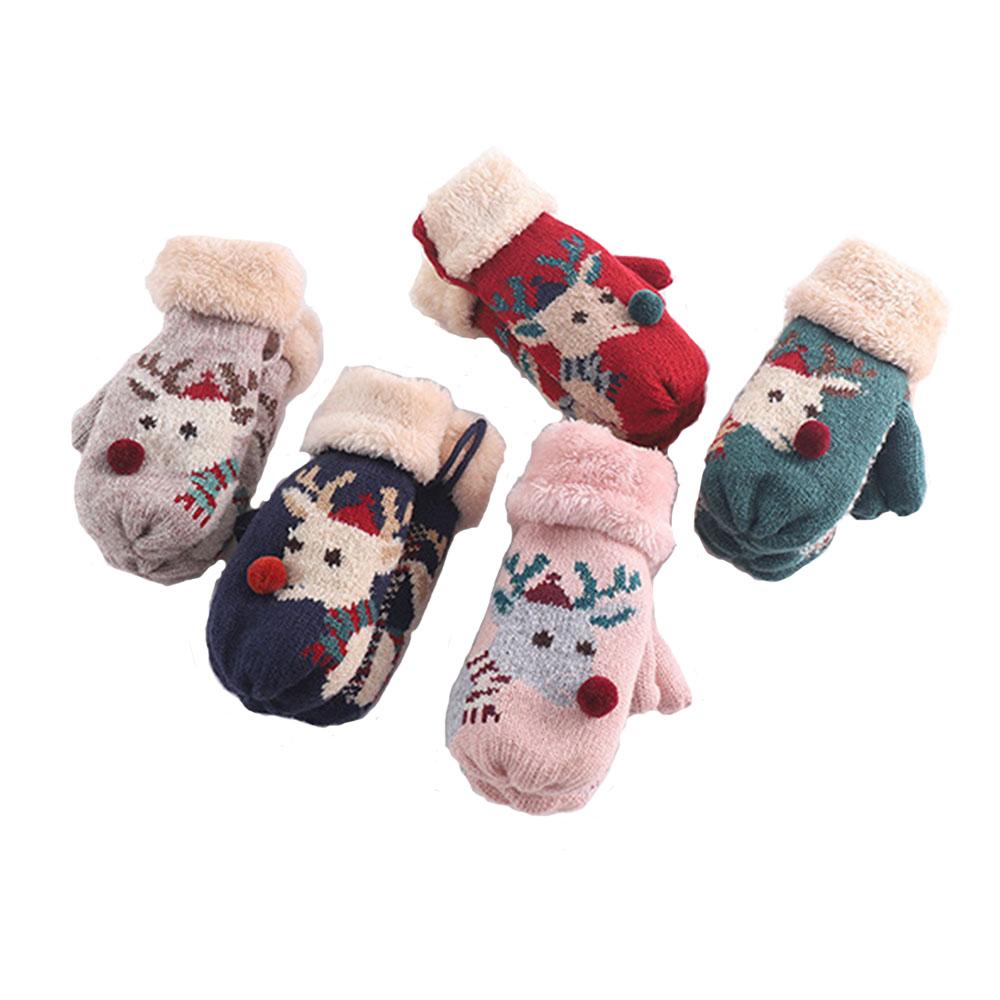 韓版 馴鹿保暖兒童手套-不挑色隨機出