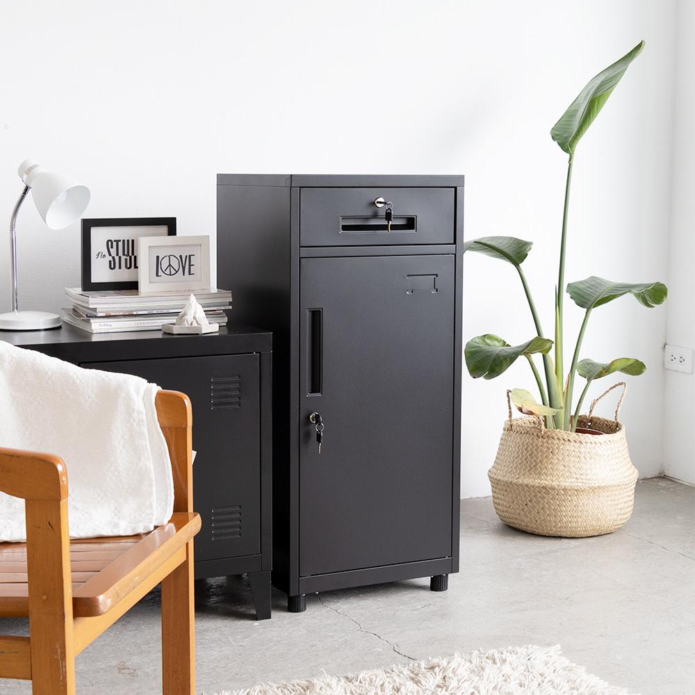 Amos-OP黑砂紋辦公置物小鐵櫃