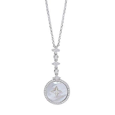 apm MONACO法國精品珠寶 閃耀銀色晶鑽星星珍珠美貝可調整長項鍊