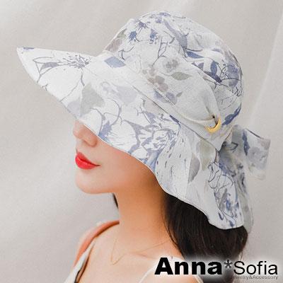 AnnaSofia 清透花嵐綁帶 防曬遮陽寬簷漁夫淑女帽(灰藍系)