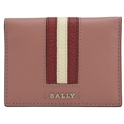 BALLY金屬LOGO紅白紅防刮牛皮對開卡片夾(粉)