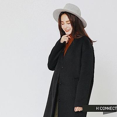 H:CONNECT 韓國品牌 女裝-純色知性毛呢外套-藍