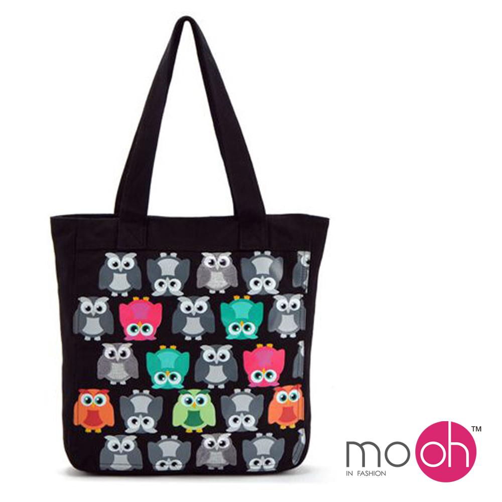 mo.oh 可愛動物刺繡手提帆布包-黑色