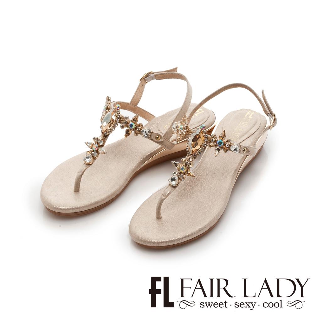 FAIR LADY 水鑽寶石夾腳楔型涼鞋 香檳