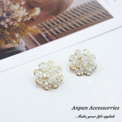 【ANPAN愛扮】韓東大門法式典雅貝殼花朵925銀耳針式耳環