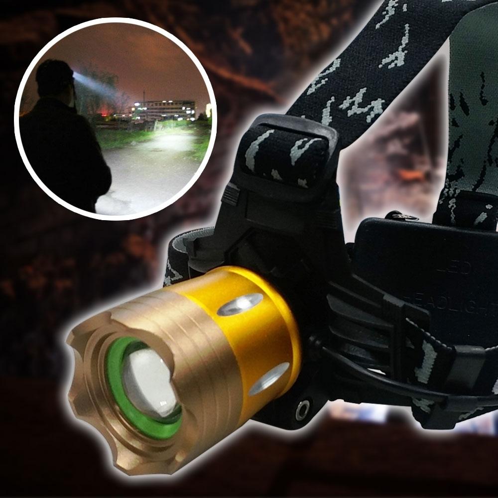 EZlife金色L2強光防身變焦頭燈套組(贈萬用修復膠泥)