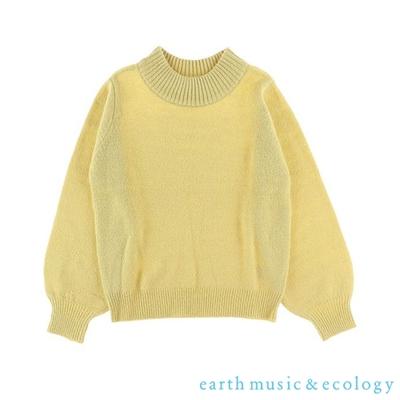 earth music 素面蓬袖剪裁微高領針織衫