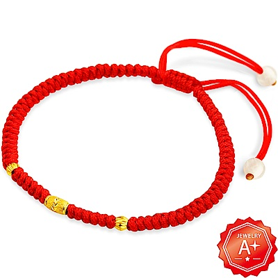 A+ 三生石 千足黃金轉運珠紅繩手鍊