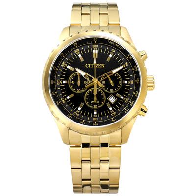 CITIZEN 星辰表 三眼礦石強化玻璃日期視窗日本機芯不鏽鋼手錶-黑x鍍金/44mm