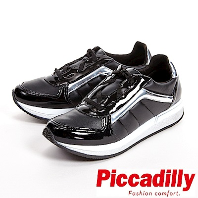 Piccadilly 舒適柔軟 敲敲厚底運動鞋 女鞋-黑(另有銀白)