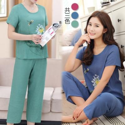 【韓國K.W.】(預購) 棉麻印花荷葉套裝褲