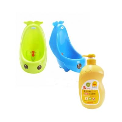baby hood 藍鯨艾達便斗(綠/藍)+黃色小鴨 奶瓶洗潔劑罐裝1000ML(香甜橘油)*1