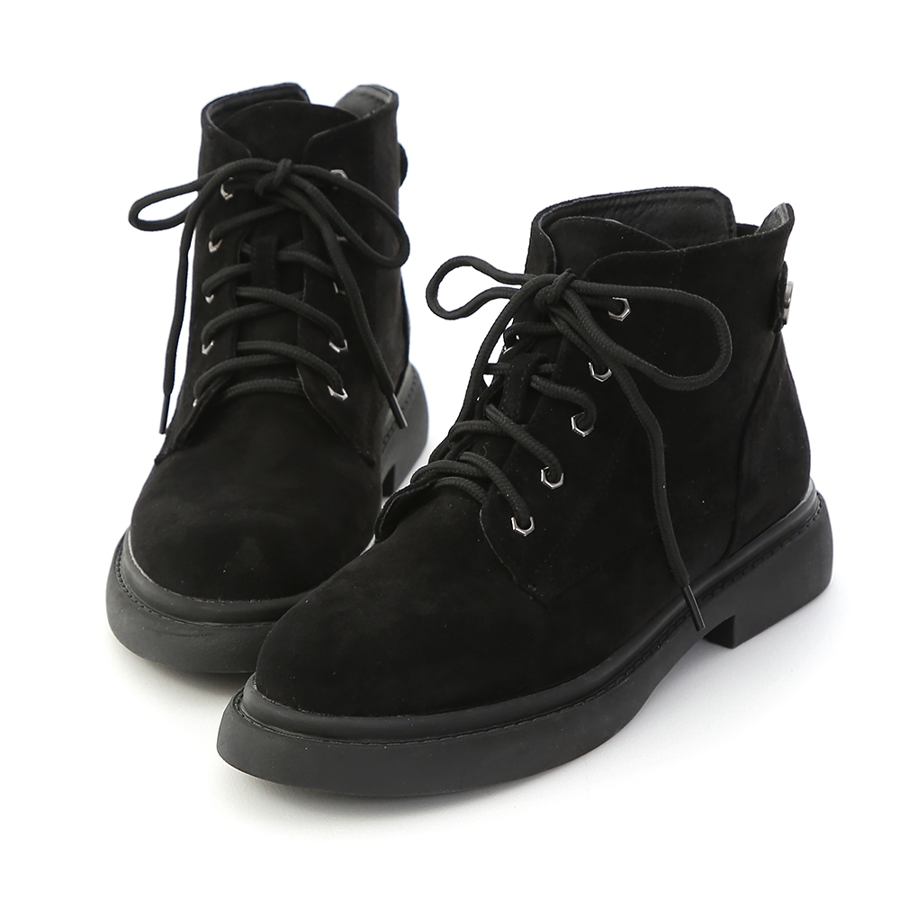 D+AF 酷帥風格.絨面綁帶短筒馬汀靴*黑