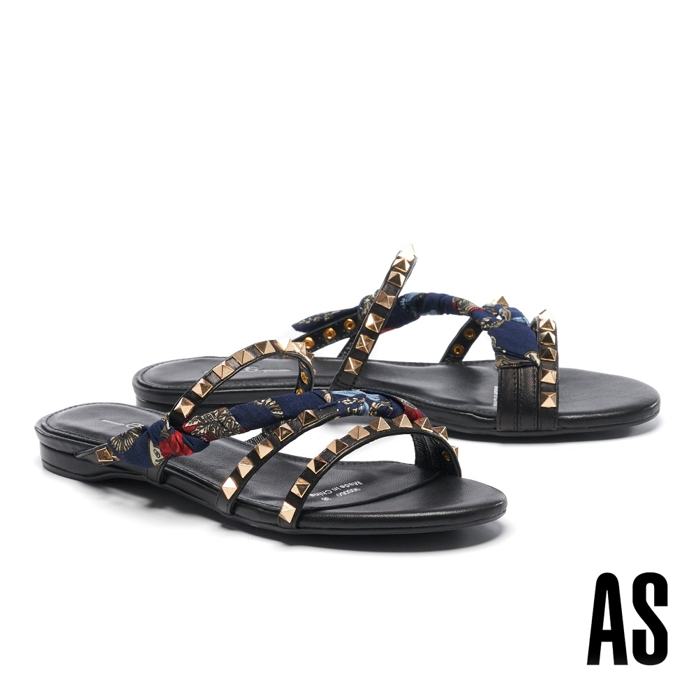 拖鞋 AS 個性時髦金屬鉚釘印花布繫帶拖鞋-藍