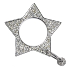 DIOR 星形閃亮水鑽LOGO造型戒指/墬飾(銀)