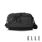ELLE 都市再生系列 輕量多隔層搭配皮革設計休閒斜/側背包-灰 EL83513