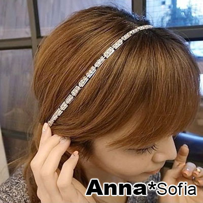 AnnaSofia 長方排鑽墜 新娘髮飾彈性細髮帶(銀系)