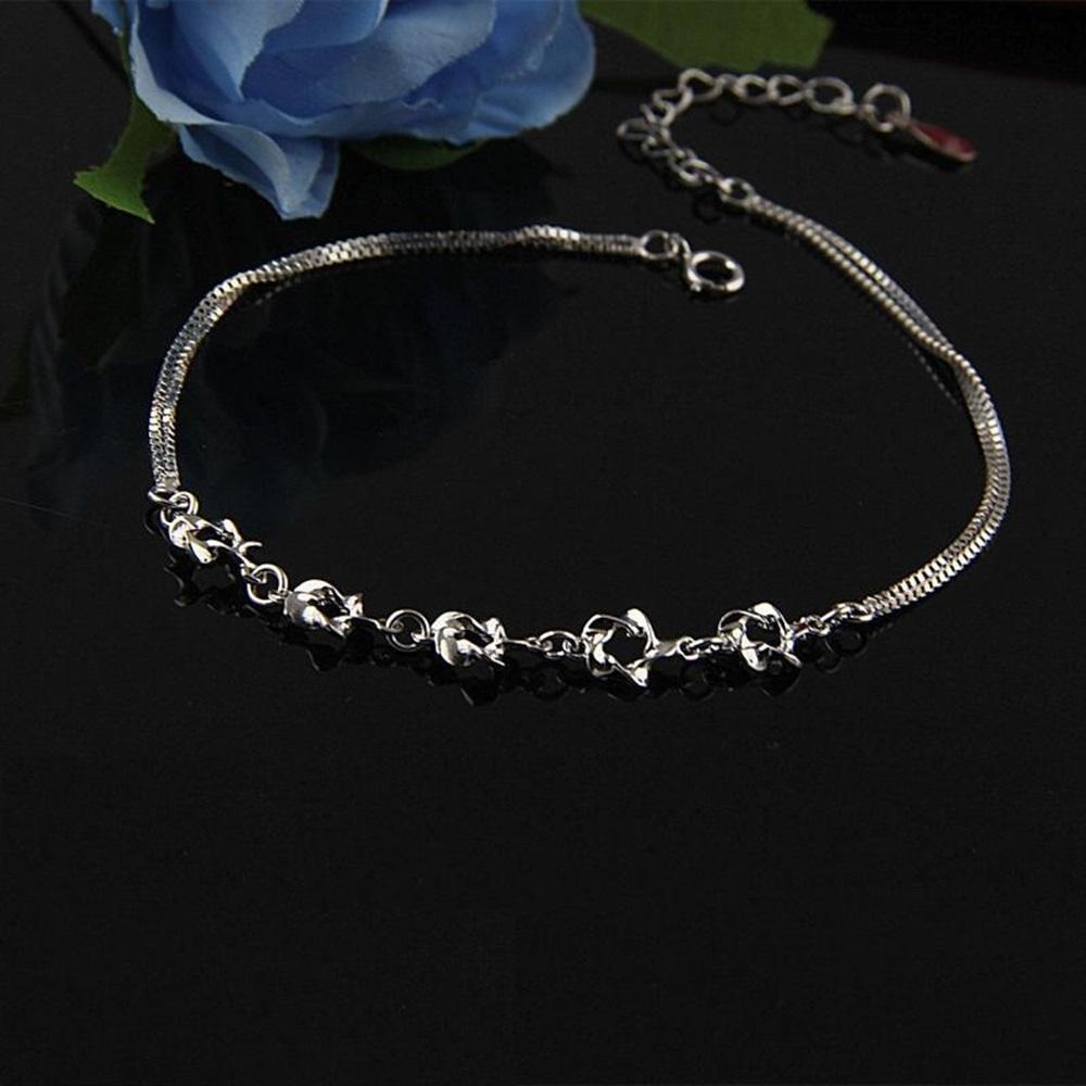 米蘭精品 925純銀腳鍊-氣質時尚雙層花朵 @ Y!購物