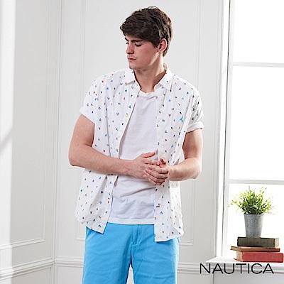 Nautica 夏日帆船圖騰短袖襯衫-白色