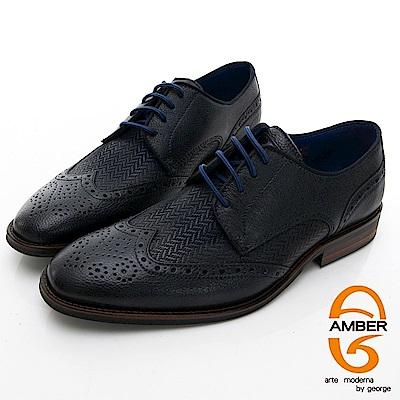 【AMBER】尊爵時尚 葡萄牙進口綁帶箭頭紋拼接花雕紳士皮鞋-深藍色