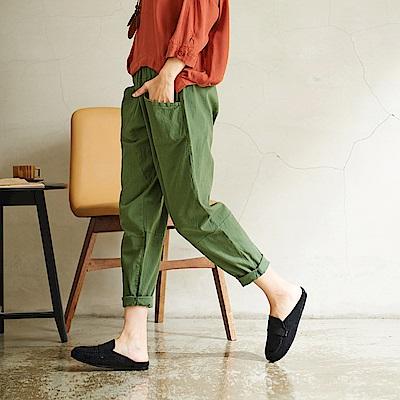 慢 生活 鬆緊腰棉麻蘿蔔褲-F 綠色