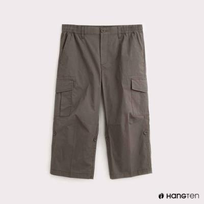 Hang Ten-男裝-素面REGULAR FIT七分工作褲-綠