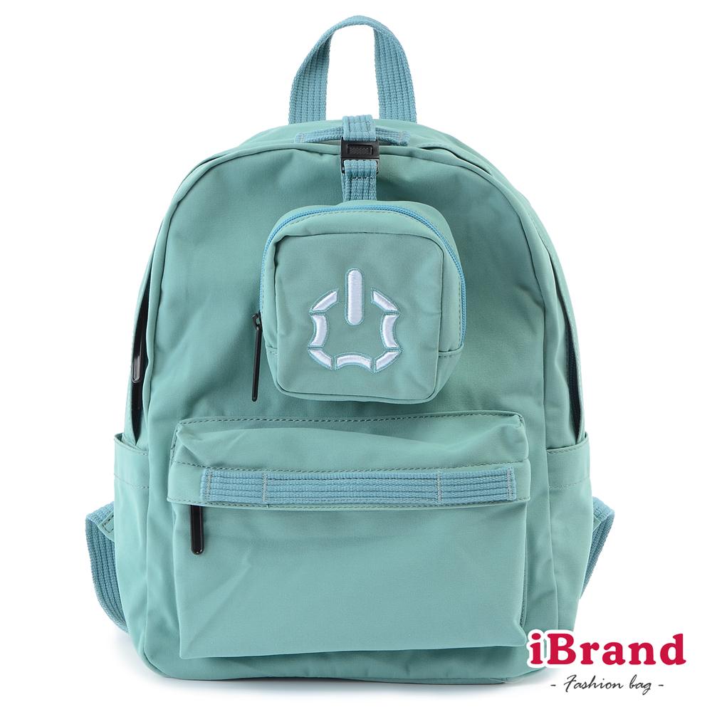 iBrand後背包 簡約素色輕旅行多功能後背包-水藍色
