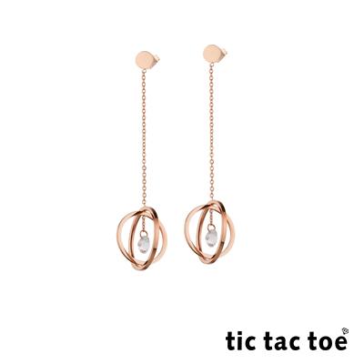 tic tac toe 白鋼垂墜耳環 鋯石星球 TR-1109RG