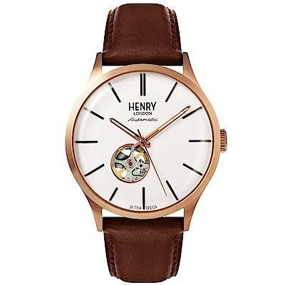 Henry London 英倫真皮鏤空機械錶-白X玫瑰金框/42mm