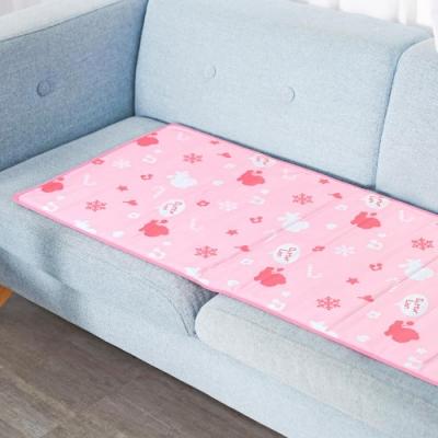 奶油獅 雪花樂園-長效型降6度涼感冰砂冰涼墊/三人坐墊/沙發墊50x150cm粉色(二入)