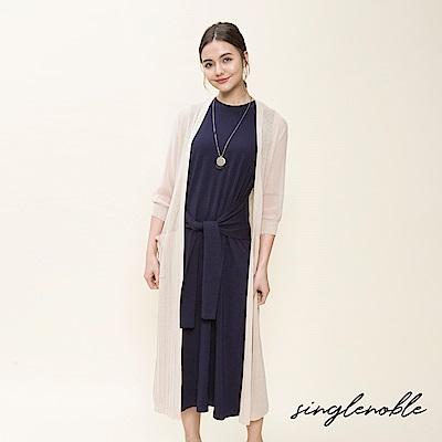 singlenoble 隨性優雅百褶透膚長版針織罩衫(2色)